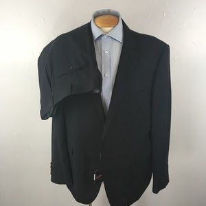 Laurentino mens suit navy stripes 48r italy ea0257